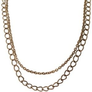 Stella & Dot Gold and Link Double Chain Necklace